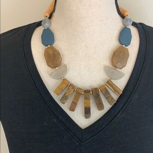 """""""Make a Wish"""" Wood Bead Natural Stone Necklace"""